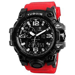 Relógio Masculino Tuguir AnaDigi TG1155 - Vermelho e Preto