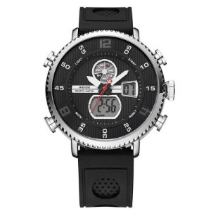 Relógio Masculino Weide AnaDigi WH-6106 - Preto e Prata