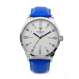Relógio Masculino Tuguir Analógico 5005 Azul e Prata