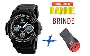 Relógio Masculino Tuguir Anadigi TG1247 Preto + Brinde (Leitor YA-M2)