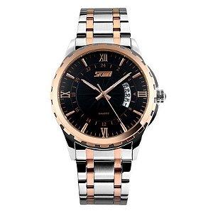 Relógio Masculino Skmei Analógico 9069 - Preto e Cobre