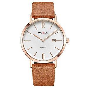 Relógio Masculino Weide Analógico WD007 Marrom e Cobre