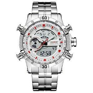 Relógio Masculino Weide Anadigi WH-6902 Prata e Branco