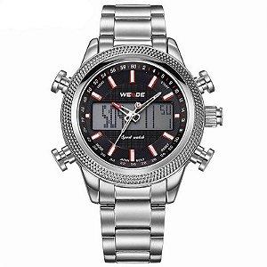 Relógio Masculino Weide Anadigi WH-3406 - Prata