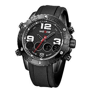 Relógio Masculino Weide Anadigi WH-3405 Borracha - Preto