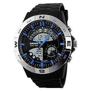 Relógio Masculino Skmei Anadigi 1110 Prata e Azul