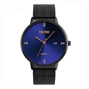 Relógio Feminino Skmei Analógico 9164 Preto e Azul