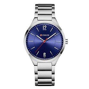 Relógio Unissex Curren Analógico 8280 - Prata e Azul