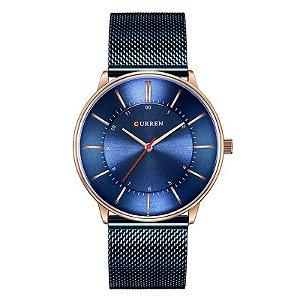 Relógio Unissex Curren Analógico 8303 - Azul e Dourado