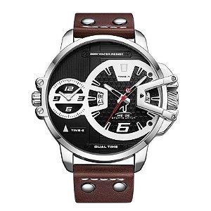 Relógio Masculino Weide Analógico UV-1702 - Prata e Marrom