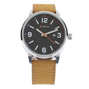 Relógio Masculino Curren Analógico 8218 - Prata e Marrom