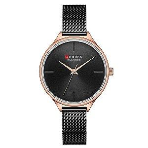 Relógio Feminino Curren Analógico C9062L - Preto e Rose
