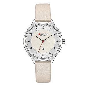 Relógio Feminino Curren Analógico C9035L - Prata e Bege