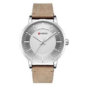 Relógio Masculino Curren Analógico 8332 - Bege e Prata