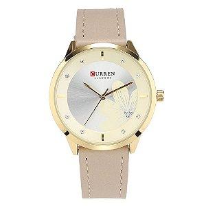 Relógio Feminino Curren Analógico C9048L - Dourado e Bege