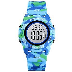 Relógio Infantil Menino Skmei Digital 1574 - Azul Camuflado