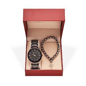 Kit Relógio Feminino Skone Analógico 7199G e Terço - Preto