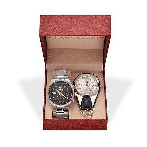 Kit Relógio Masculino Tuguir Analógico 5440G e Relógio Chaveiro 5506G