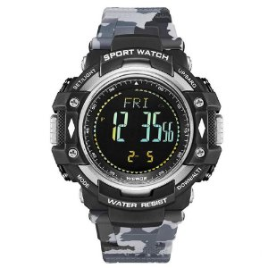 Relógio Pedômetro Masculino Weide Digital WA9J001 - Cinza Camuflado