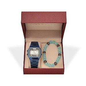 Kit Relógio Unissex Skmei Digital 1123 Azul e Pulseira