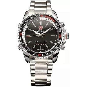 Relógio Masculino Shark AnaDigi DS001S - Prata e Preto