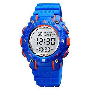 Relógio Infantil Menino Skmei Digital 1613 - Azul e Laranja