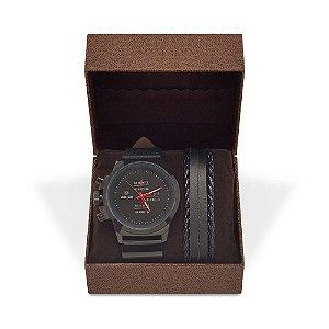 Kit Relógio Masculino Weide Analógico 3305 com Pulseira de Couro