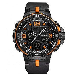 Relógio Masculino Weide AnaDigi WA3J8005 - Preto e Laranja