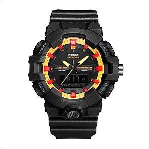 Relógio Masculino Weide AnaDigi WA3J8006 - Preto e Amarelo