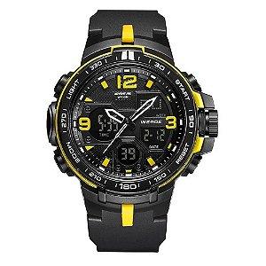 Relógio Masculino Weide AnaDigi WA3J8005 - Preto e Amarelo