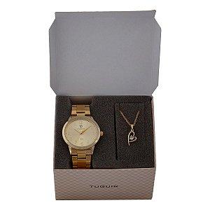 Kit Relógio Feminino Tuguir Analógico TG116 - Dourado com Brinde