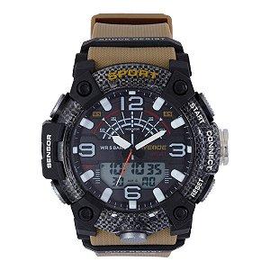 Relógio Masculino Weide AnaDigi WA3J9001 - Marrom e Preto