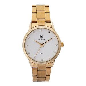 Relógio Feminino Tuguir Analógico TG114 - Dourado e Branco