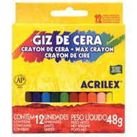 Lápis de cera (fino) 12 Cores 48g - Acrilex