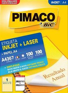 Etiqueta A4 - A4367 288,5 X 200,0 Mm PCT C/100 - Pimaco