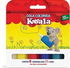 Cola escolar (colorida) Koala C/6 Cores 25g. - Delta