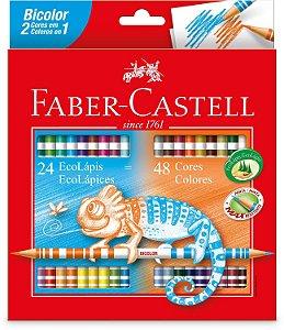 Lapis de cor (redondo) Ecolapis Bicolor 48 Cores - Faber-Castell