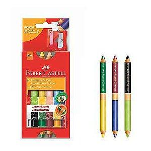 Lápis de cera (gizão) bicolor (6 lápis / 12 Cores) Ecogiz Madeira - Faber-Castell