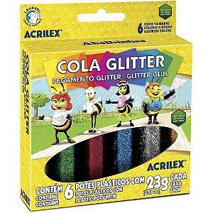 Cola com gliter Pacote c/ 6 frascos de 23g. - Acrilex