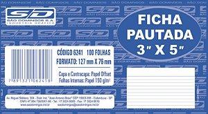 "Ficha pautada 3""x5"" (229mmx153mm) - São Domingos"