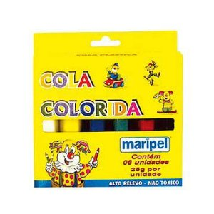 Cola escolar (colorida) Estojo Com 06 Cores 25g - Maripel