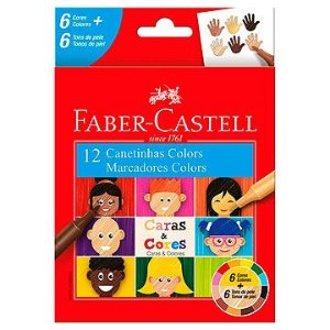Caneta hidrografica Caras E Cores 12cores - Faber-Castell