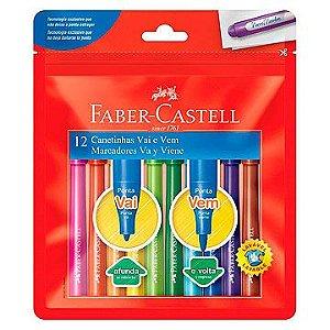 Caneta hidrografica Vai E Vem 12 Cores - Faber-Castell