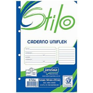 Bloco universitário  4 furos (branco) Stilo 96f 200x275mm - Jandaia