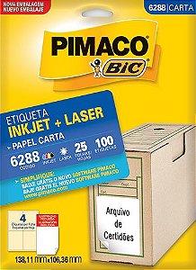 Etiqueta Carta 6288 25 Fls 138,11 X 101,36 Mm - Pimaco