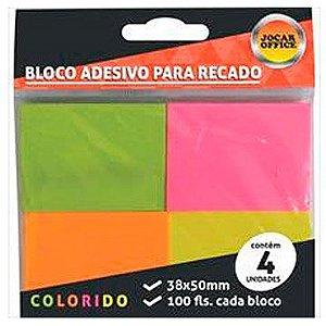 Bloco de recado autoadesivo Jocar Neon 38x50 100fls.  -  Leonora