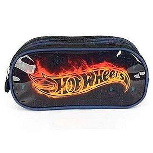 Estojo Tecido Hot Wheels GD 3ziperes Azul - Luxcel