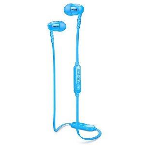 Fone de Ouvido Bluetooth Philips SHB5850 com Microfone - Azul - Preto