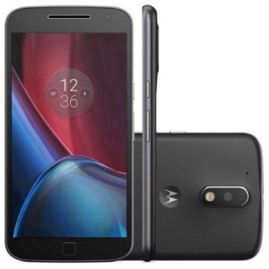 "Smartphone Motorola Moto G4 Plus XT1641 32GB LTE Dual Sim Tela 5.5""Câm.16MP+5MP-Preto"