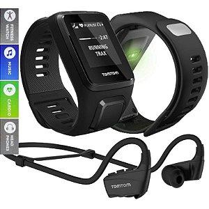 Relógio TomTom Spark 3 Cardio +Music +Headphones GPS Fitness Multi-Sport Large Preto